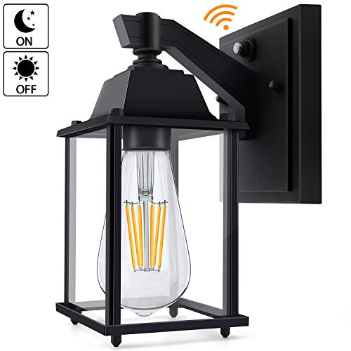Dusk to Dawn Outdoor Lighting Led Sensor Wall Lantern,Porch Light Fixture Exterior Wall Scone Light with E26 Base Socket,Waterproof Anti-Rust Wall Mount Lamp for Doorway (Light Bulb Included)