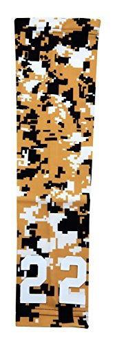 Sports Farm - Custom Number Gold Black White Digital Camo Arm Sleeve (Youth Medium)