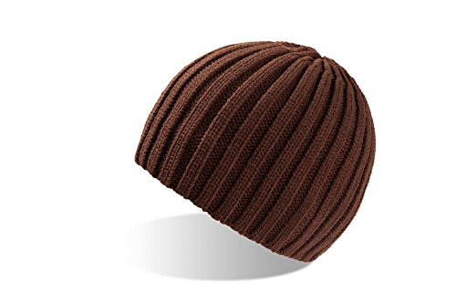 ROC-4x schwarz Strickmütze Wollmütze Wintermütze Mütze gestrickte Wintermützen Herrenmütze Skimütze Snowboardmütze Damenmütze Damenstrickmütze Beanie Herren Damen … (Braun)