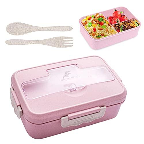 Lunchbox für Kinder, natürliche Weizenbento-Lunchbox, BPA-freie Lunch-Behälter, auslaufsichere Bento-Box für Kinder und Erwachsene, mikrowellen- und spülmaschinenfest(Pink)