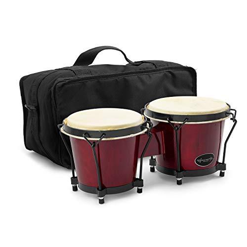 "World Rhythm BON7 6"" & 7"" Beginners Oak Bongo Drums in Wine Red with..."