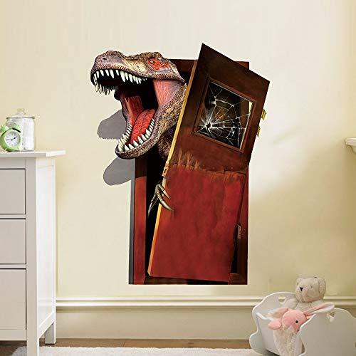 Etiqueta de la pared ZOZOSO 3D Roto Puerta Dinosaurio Jurassic Park Wall Pegatinas Impermeable Niños Habitaciones Dormitorio Removible Adesivo Decorativo Pvc Wall Decal