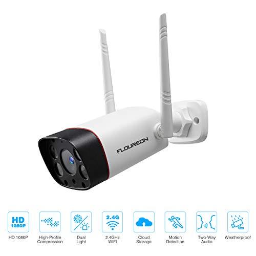 FLOUREON 1080P IP Inalámbrica Cámara de Seguridad para Exteriores con Alarma de Movimiento 2.4G WiFi, Visión Nocturna Automática, Audio Mutuo, IP66 Compatible con Almacenamiento en la Nube, Blanco