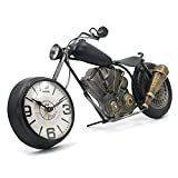 Vintage Desk Clock Tabletop Clock Motorcycle Gifts for Men Rustic Farmhouse Decor Gifts for Dad Him Boyfriend Battery Operated No Ticking Antique for Mantle Shelf Decorations Living Room Office Black
