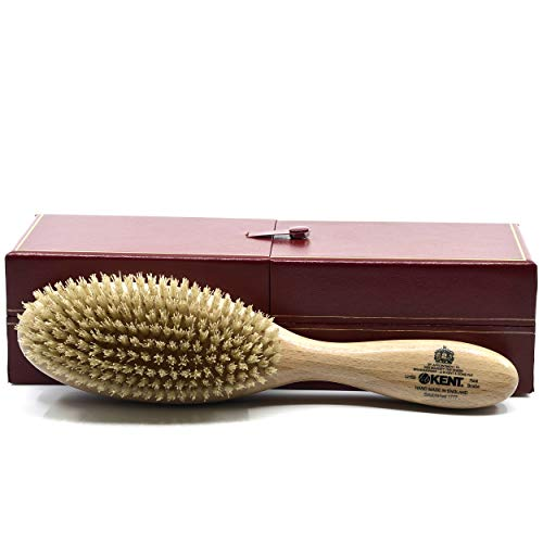 Kent LHS5 Satinwood Wire-Laid Pure White Boar Bristle Oval Hair Brush in a Silk Lined Presentation Case for Daily Grooming Medium To Long Thick Hair and Promotes Natural Shine. Handmade in England