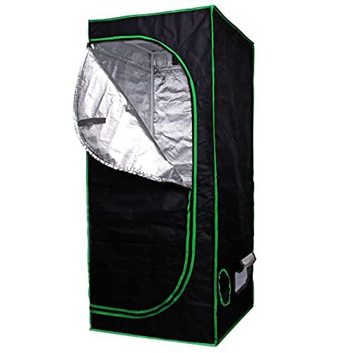 AIICIOO Juego completo de tienda de campaña de Grow Tent de color plateado, lámina de poliéster PET resistente a los desgarros y al agua, cultivo de plantas de jardín en interiores, 60 x 60 x 140 cm