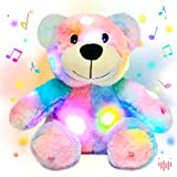 Hopearl LED Musical Rainbow Stuffed Teddy Bear Light up Singing Plush Toy Adjustable Volume Lullaby Animated Soothe Valentine's Day Gifts for Girlfriend, Colorful, 10''