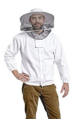Beekeeping Jacket with Round Veil for Protection from Honey Bee, Hornet, and Wasp Stings 100% Thick Lightweight Cotton Zip Up Jacket and Removable Veil with Unisex Sizing