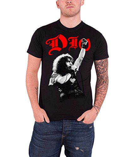 Dio T Shirt RIP Ronnie James We Rock Classic Band Logo Officiële Mens Zwart
