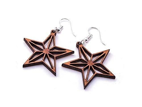Pendientes de estrella geométrica, par, madera de cerezo