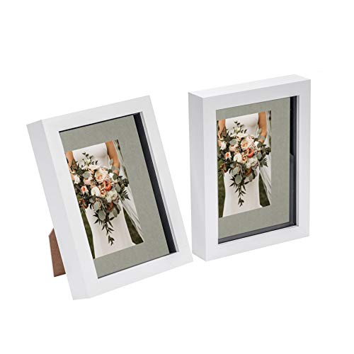 Nicola Spring 2 Piece 8 x 10 3D Shadow Box Photo Frame Set - Craft Display Picture Frame with 4 x 6 Mount - Glass Aperture - White/Grey
