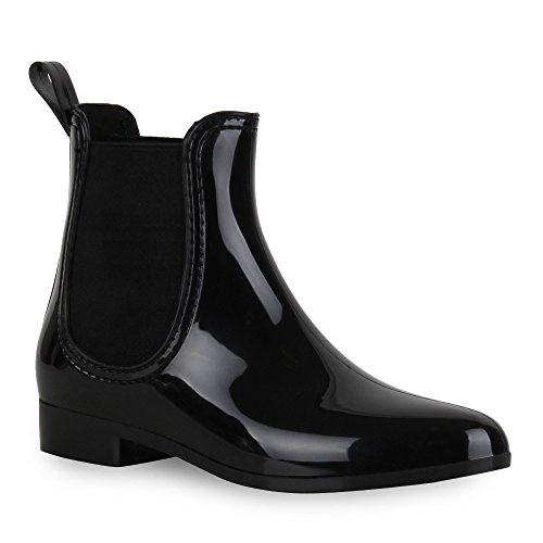 Damen Stiefeletten Gummistiefel Lack Regen Chelseas Schuhe 52611 Schwarz Agueda 38 Flandell