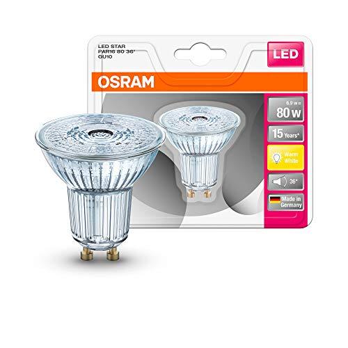 Osram LED Star PAR16 Reflektorlampe, mit GU10-Sockel, nicht dimmbar, Ersetzt 80 Watt, 36° Ausstrahlungswinkel, Warmweiß - 2700 Kelvin, 1er-Pack