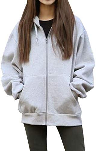SPORTTIN Women s Warm Oversized Full Zip Jersey Hoodie Solid Winter Outerwear Sweatshirt Gray product image