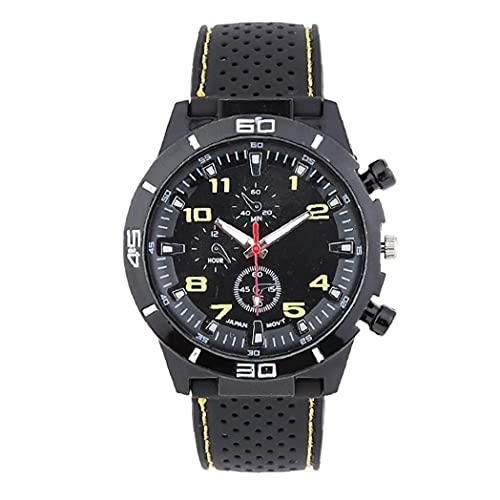 Hombres Reloj Deportivo de Peso Ligero analógico Cuarzo Claro Big Dial Placa de Reloj con Brazalete de Silicona Reloj de Pulsera Casual Incorporado batería Amarilla