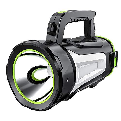 EUPEFIST Linterna con Foco LED de Mano súper Brillante, 1000 lúmenes con Carga USB Reflector Potente Impermeable para Acampar Barco antorcha Marina (Negro),Js885d