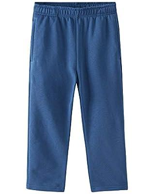 Spring&Gege Kids' Active Fleece Jogger Pants Open Bottom Sweatpants with Pockets, Light Navy Blue, Small