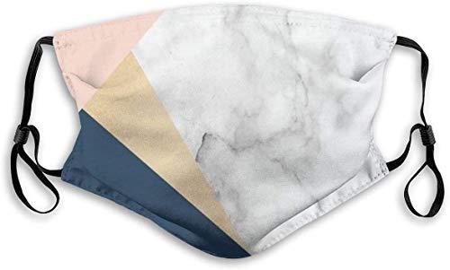 Na Mundmaske Unisex-Gesichtsmaske Eleganter weißer Marmor Gold Pfirsichblau Farbblock kann Aktivkohlefilter ersetzen M Nasenclip StaubmaskeKermit für Teenager Männer Frauen