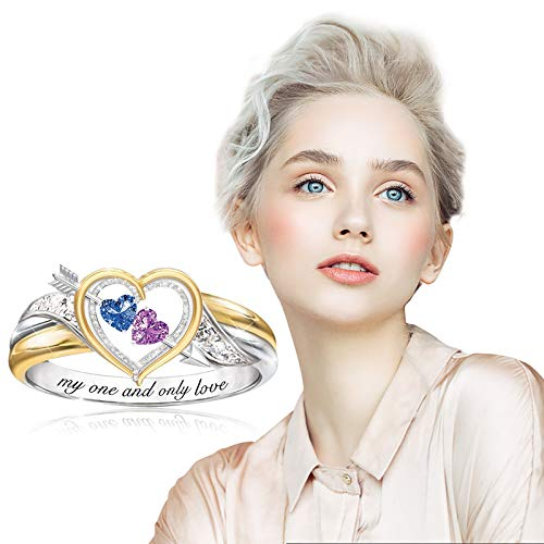 HINK Fashion Ring Crystal love Women Wedding Engagement Party Jewelry Size 6-10 D