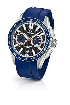 TW Steel Yamaha Factory Racing Unisex cuarzo reloj con cronógrafo para hombre (mecanismo de cuarzo, esfera negra y correa de caucho de color negro