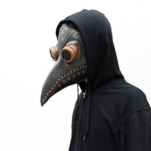 Mscara de mdico de la peste para Halloween, disfraz retro de pjaros, pico de nariz larga steampunk Cosplay (Negro-B)