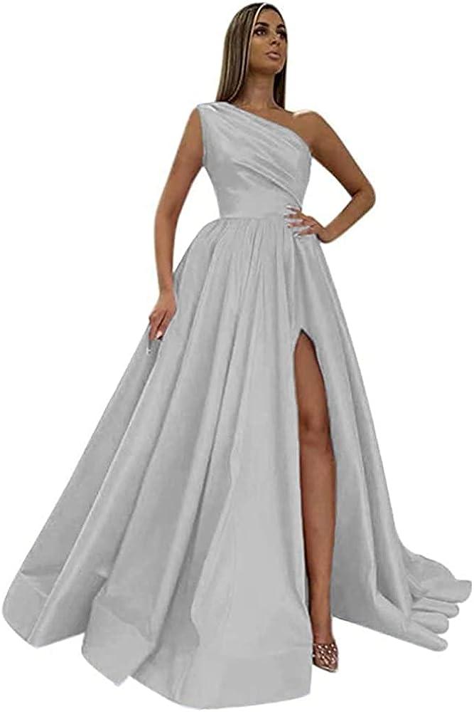 Xjizu One Shoulder Prom Factory outlet Dresses for A sale Satin Side Women Long Slit