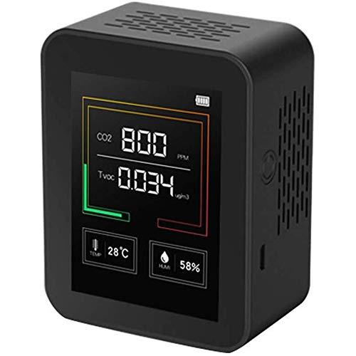 9FMZZzi81E Kohlendioxid-Detektor und TVOC-Detektor, CO2-Messgerät für Innenräume Großbildtemperatur und Luftfeuchtigkeit CO2-TVOC-Tester