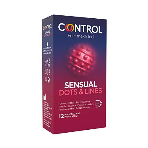 Preservativos Control Sensual Dots & Lines - Caja de condones, con puntos y estrías para la estimulación, lubricados y estriados, ajuste perfecto, sexo seguro, 12 unidades