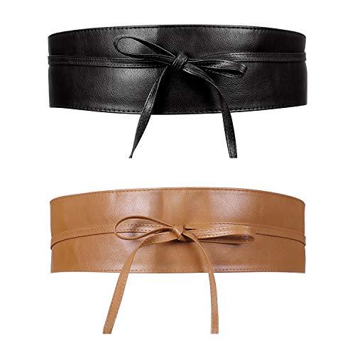 JasGood 2 Stück Breiter Gürtel Obi Damen Fashion Breiter Taillengürtel für Kleid Hüftgürtel Bindegürtel Ledergürtel in vielen Farben