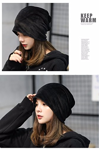 Hats for Women, Beret Cap Baggy Beret Hat Warm Flexible Autumn Winter Handmade Knit Beanie Skullies Newsboy Bucket Knitted Crochet for Woman Ladies Girls Outdoor Sports - Black