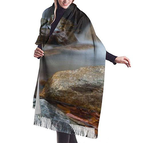 Pizeok Cascada en cascada del bosque al aire libre Cubierta de chal de cachemira de imitación: bufanda suave gruesa extra grande