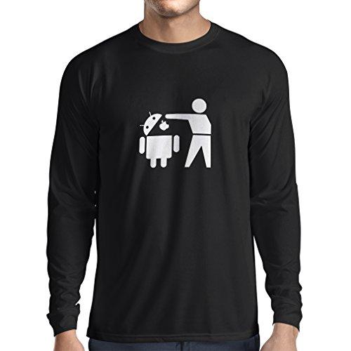 lepni.me Camiseta de Manga Larga para Hombre Robot Android Divertido - Regalo para los Fans de tecnología (X-Large Negro Fluorescente)