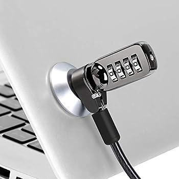 CaLeQi Câble verrou de sécurité pour Ordinateur Portable, PC et écran avec Combinaison - câble Noir de 2 m (Serrure d'ordinateur + Serrure Ronde)