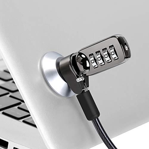 CaLeQi Cable de Seguridad con Cerradura de Combinación para Ordenador portátil, Ordenador, Monitor LCD, 2 m de Cable Negro (Bloqueo del Ordenador + Bloqueo Redondo)