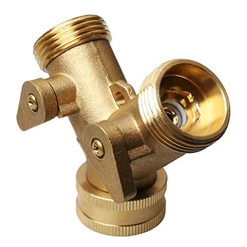 kuou Brass Manifold, 3/4' Tap Y Splitter Brass Manifold Two Way Washing Machine Hose Connector