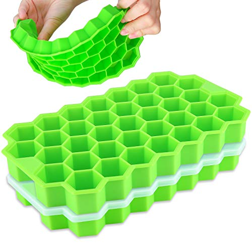 Ice Cube Trays with Lids,Bomstar 2 Pack Food Grade Silica Gel Flexible 74 Ice Trays with Removable Lid,BPA Free Ice Cube Trays for Whiskey Storage,Cocktail,Beverages