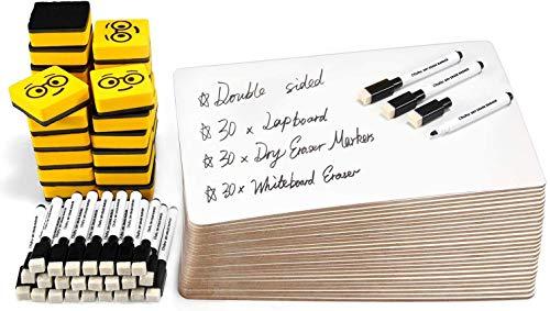 30er Pack Whiteboard Set, Ohuhu 23 x 30,5 cm Doppelseitige Magnettafel Inklusive 30 x Schreibtafel, schwarzen Markierungen, Whiteboard-Radiergummis für Schüler, Klassenzimmer, Schulmaterial