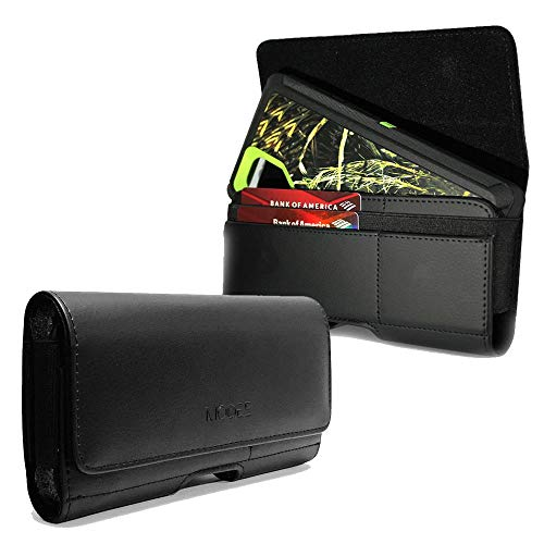 Premium Leather Holster Pouch with ID Card Credit Card Cash Holder for Google Nexus 6P Fit with Otterbox Defender Case/Lifeproof Case/Hybrid Armor Case/Battery Back Case On - Black