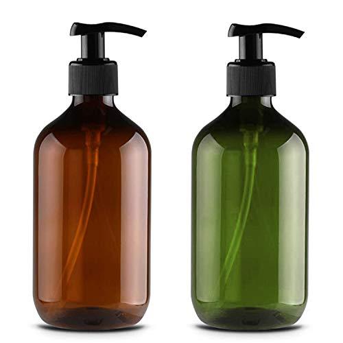 JamHooDirect, 2 flaconi vuoti in plastica da 500 ml, ricaricabili, shampoo per il corpo e la doccia con gel, dispenser di liquidi