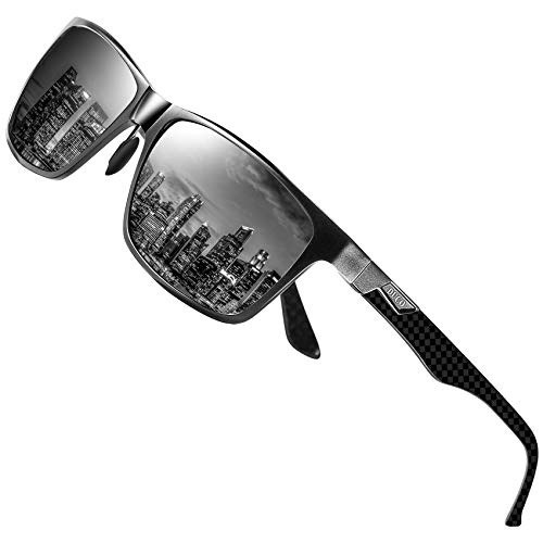 DUCO Herren Polarisierte Sonnenbrille mit Rechteckig Metallrahmen und Kohlefaser Brillenbügel UV400 CAT 3 CE 8206 (Gunmetal Rahmen Graue Linse)