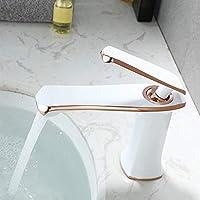 蛇口蛇口すべての銅の蛇口ファッションブラックゴールド真鍮浴室のシンクの蛇口冷温水盆地ミキサー蛇口最高品質のタップシングルハンドル-白