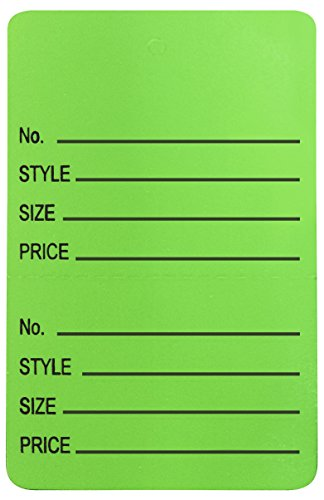 Amram Price Tags 1.25-in x 1.875-in Unstrung Perforated, Green, Printed No; Style; Size; Price, 1,000 Tags