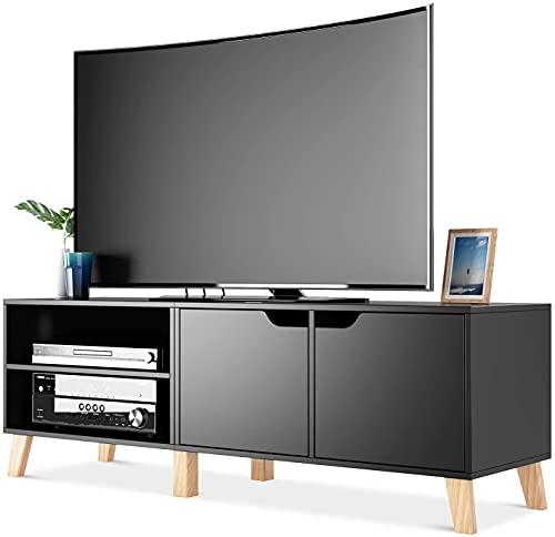 Blackzebra Mobile Porta TV in Legno Armadio Moderno con 2 Ripiani e 2 Ante Supporto TV con 6 Gambe 140 x 40 x 48 cm (Nero)