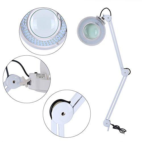 Lámpara de lupa de escritorio, 8 aumentos con abrazadera plegable, luz de lectura de escritorio, belleza de cuidado de la piel, lupa de tatuaje, UK 220 V