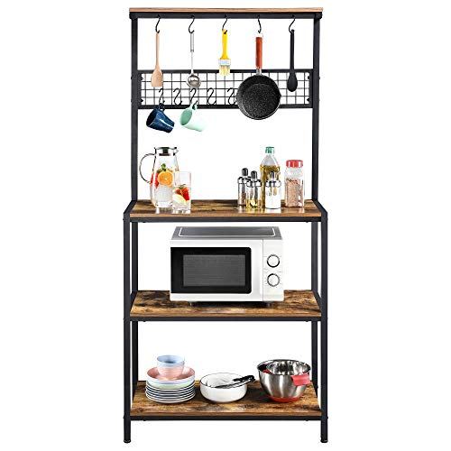 YAHEETECH 67 inch Industrial Kitchen Island with 4 Storage Shleves & 10 Hooks Microwave Stand Utility Storage Shelf Unit for Spices Utensils Organizer Workstation, Rustic Brown