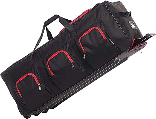 Large Lightweight Wheeled Duffle Holdall Travel Bag Sports Bag - 2 Year Warranty (Black/Red, 40 Inch)