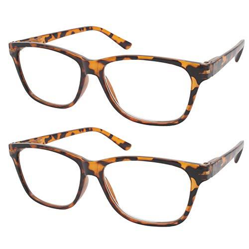 TBOC Gafas de Lectura Presbicia Vista Cansada - (Pack 2 Unidades) Graduadas +3.50 Dioptrías Montura de Pasta [Marrón Carey] de Diseño Moda Hombre Mujer Unisex Lentes de Aumento Leer Ver de Cerca