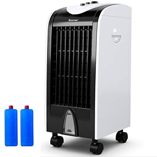 COSTWAY Evaporative Cooler, Portable Air Cooler with Fan & Humidifier Bladeless Quiet Electric Fan...