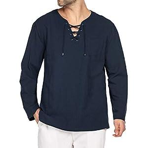 Men's Fashion T Shirt Cotton Linen Tee Hippie Shirts V-Neck Yoga Top