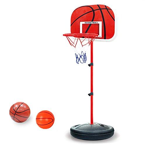 PELLOR Einstellbare Basketballständer, Basketballkorb mit Ständer Höhenverstellbar Basketball-Backboard Ständer Hoop Set für Kinder (Rot, 150CM)